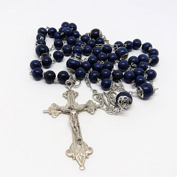 Antique French, Lapis Lazuli, Silver Rosary