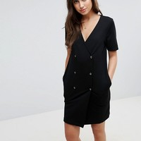 ASOS Tux Dress with Popper Detail & Pleated Back at asos.com