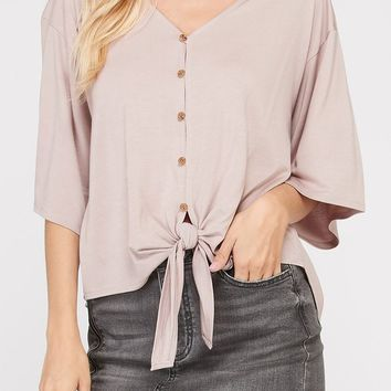 Ainsley Bamboo Tie Front Top in Mauve