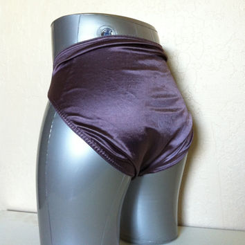 Vintage Panties Victoria's Secret SATIN Second Skin Bikini panty XL Plum Purple