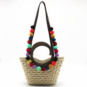 2017 Raffia Corn Skin Beach Bags Handmade Pom Pom Handbags Straw Bag Summer Bohemia Holiday Shoulder Bags for Women Straw Tote