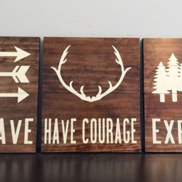 Rustic wilderness pallet art (set of 3)