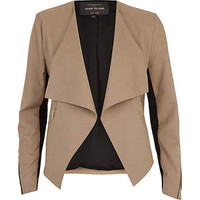 Brown smart waterfall biker jacket