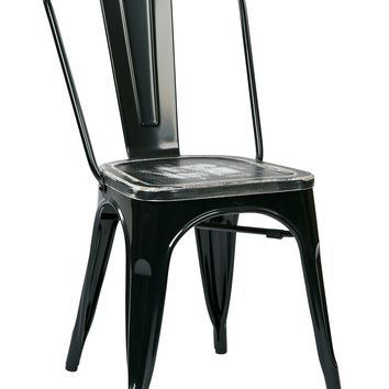 Office Star Black/Ash Crazy Horse Bristow Metal Chair with Vintage Wood Seat (Set of 4)