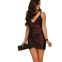 Burgundy Sparkle On Mini Dress
