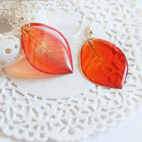 Red Leaves Earrings - Dangle earrings - Leaves Transparent Earrings - Summer Earrings - Red Earrings - Woodland Earrings - Nature Earrings