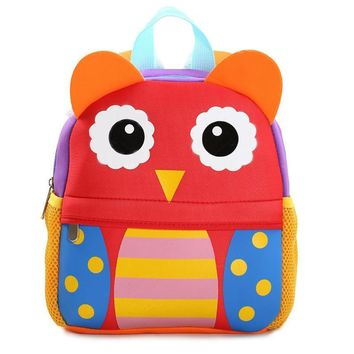 Children 3D Cute Animal Giraffe Monkey Owl Design Backpacks Toddler Kids Neoprene School Bags Kindergarten Cartoon Backpack Bag