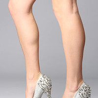 *Sole Boutique The Spiked Heel in Silver Glitter