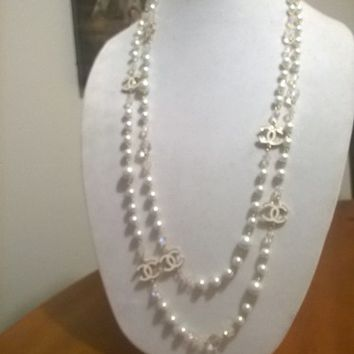 "Designer 76"" Hollywood Glam, Crystal and White Pearl Chain Necklace"