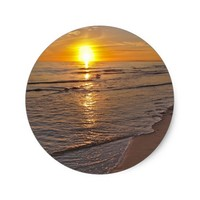 Sticker: Sunset by the Beach Classic Round Sticker