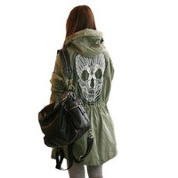 Womens Punk Skull Head Trench Coat