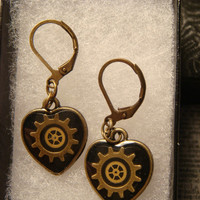 Small Clockwork Gears Vintage Watch Part Gears Heart Steampunk Style Leverback Earrings (1836)