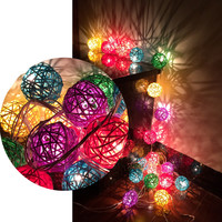 Colorful Rattan Balls LED String Lights Sepak Takraw Holiday Lights Lamp For Christmas Party Wedding Living Room Decoration