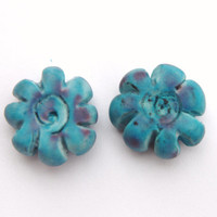 Earring Beads Rustic Blue Flower Patterned Handmade Polymer Clay Swirl