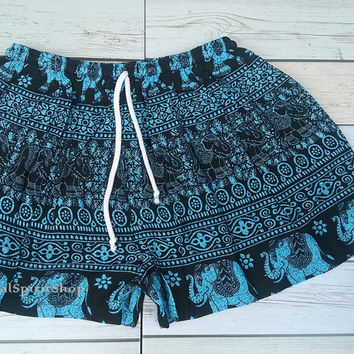 Blue Elephants Unique Boho Print Summer Beach Shorts Chic Fashion Tribal  Aztec Ethnic Clothing Bohemian Ikat Cloth Hobo wear with Tank Top