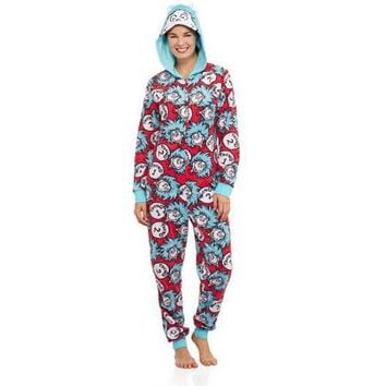 Thing 1 Thing 2 Women's and Women's Plus One Piece Pajamas - Walmart.com