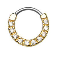 Ten Paved CZ Gem Gold IP Septum Clicker
