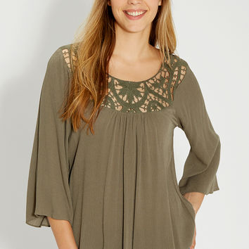 top with crocheted yoke and bell sleeves