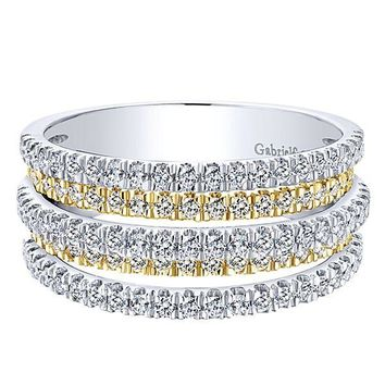 14K Two-Tone Gold 1cttw Multi-Row Pave Diamond Ring