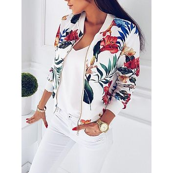 Women Floral Zipper Up Bomber Jacket Casual