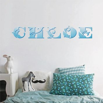 cik1229 Full Color Wall decal beautiful capital letters name girls bedroom children's room