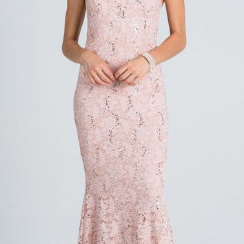 Cut Out Embellished Neckline Mermaid Long Formal Dress Taupe