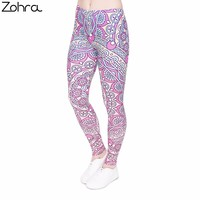 Zohra Brand Fitness Legging Mandala Pink Round Printing Fashion Bottoms Sexy High Waist Leggings Women Pants