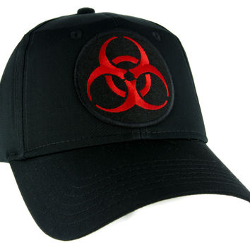 Toxic Red Biohazard Sign Hat Baseball Cap Horror Clothing Zombie Apocalypse