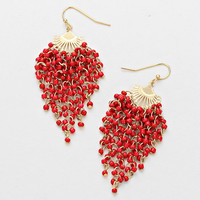 Red Beanie Beads Elegant Seaweed Earrings