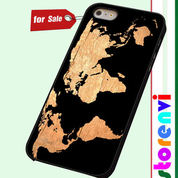 World Map on Wood Texture custom case for smartphone case