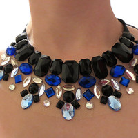 Glistening Icy Royal Blue, Black, Gray and Crystal Aurora Borealis Rhinestone Collar Statement Necklace, Dramatic and Bold Choker