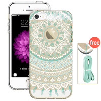 Case for iPhone 5s, ESR Totem Henna Hybrid case Clear Soft TPU Hard Back Case printed Protective Cover for iPhone 5/ 5s/ SE/ 5se