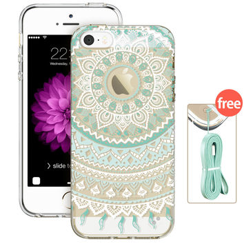 ESR Totem Henna Hybrid case Clear Soft TPU Hard Back Case Protective Cover for iPhone 5/ 5s/ SE/ 5SE