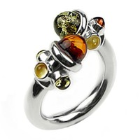 Multicolor Amber and Sterling Silver Adjustable Designer Ring, Sizes 5,6,7,8,9,10,11,12