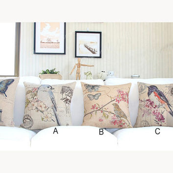 pillow cover, throw pillow cover, pillow case, linen pillow case, bird pillow case, decorative throw pillow cover, floral sofa pillow case