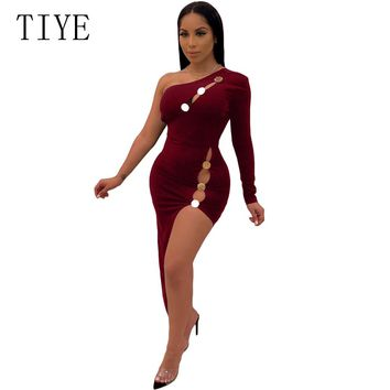 TIYE Sexy One Shoulder Button Side High Split Backless Dress Women Clothes Summer Hollow Out Irregular Party Night Club Dresses