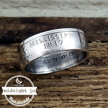 Mississippi 90% Silver State Quarter Coin Ring