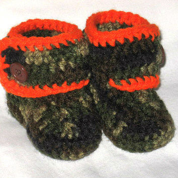 Hunting Camo and Orange Baby Booties- Photo Prop Ready to ship