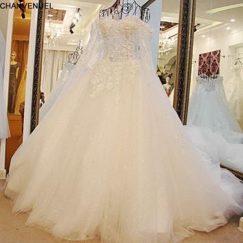 LS16024  2018 New Ball Gown Court Train White Lace Bridal Wedding Dress With Cape Wedding Gown Vestido De noiva De Renda