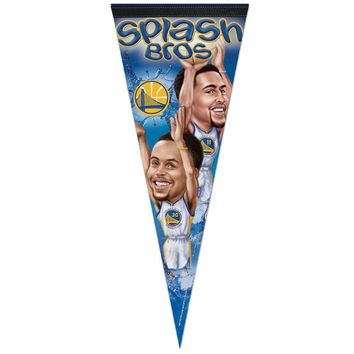 "STEPHEN CURRY & KLAY THOMPSON GOLDEN STATE WARRIORS ROLL UP FELT PENNANT 12""x30"""