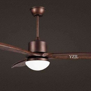 Nordic simple solid wood American fan chandelier living room dining room fan chandelier fan chandelier light with remote control