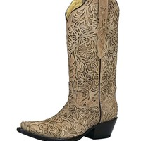 Corral Bone Embroidery Snip Toe Boots G1388
