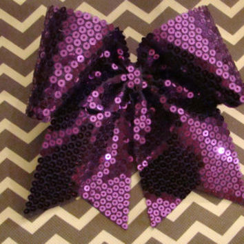 Flat Purple Sequin Cheer Bow by isparklethat on Etsy
