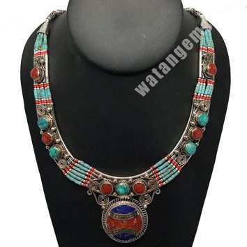Ethnic Tribal Nepalese tribal Lapis, Red Coral & Turquoise Inlay Necklace, E233