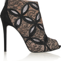 René Caovilla Embellished mesh-trimmed lace-bonded leather ankle boots – 62% at THE OUTNET.COM