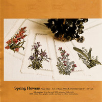 Vintage Exquisite Candamar Counted Cross Stitch Spring Flowers Placemat Kit Unused and Complete Cross Stitch Needlework Supplies