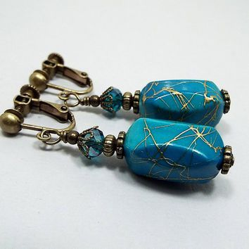 Clip on Earrings, Blue Earrings, Turquoise Blue Color with Metallic Gold Drizzle, Vintage Style, Drop Earrings, Acrylic Beaded