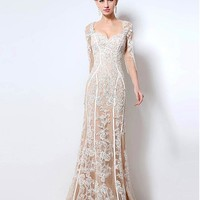 [189.99] Modest Tulle Sweetheart Neckline Mermaid Formal Dress With Lace Appliques - dressilyme.com