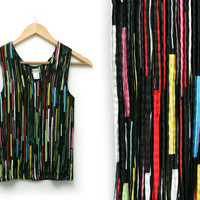 Vintage Shirt ~ Size Small ~ 80s Pleated Stripe Geometric Black Red Pink Yellow Blue Green White Tank Top ~ By Nicola