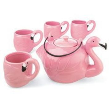 PINK FLAMINGO SHAPE 5 PIECE TEA SET